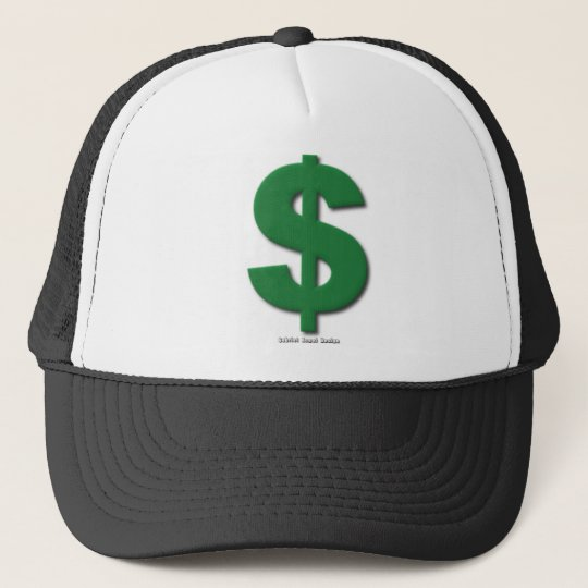 Green Dollar Sign with Beveled Style Trucker Hat