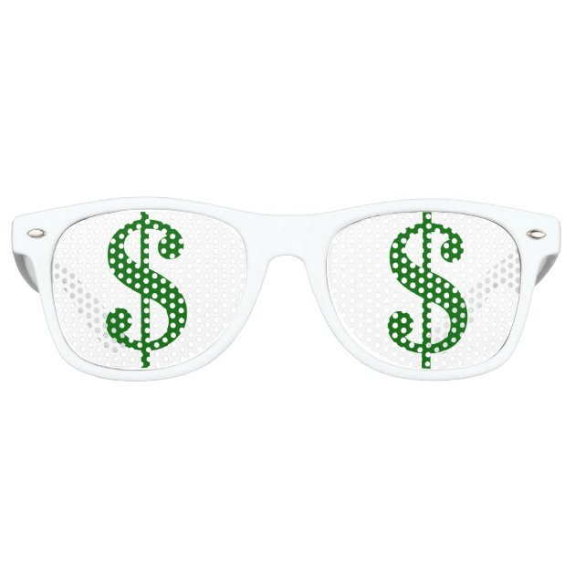 green dollar signs in your eyes retro sunglasses zazzle