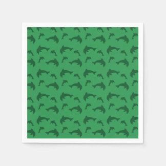 Green dolphin pattern disposable napkin