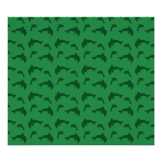 Green dolphin pattern posters