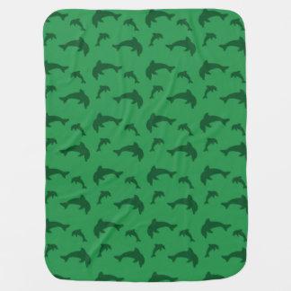 Green dolphin pattern stroller blanket