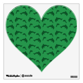 Green dolphin pattern wall skins
