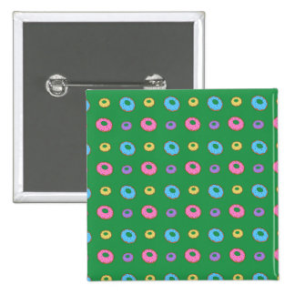 Green donut pattern pinback buttons