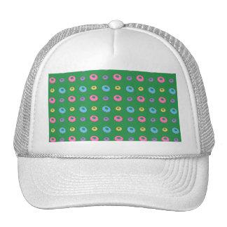Green donut pattern trucker hat