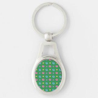 Green donut pattern keychains