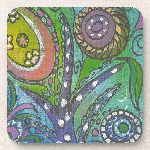 Green Doodle 4 Coaster