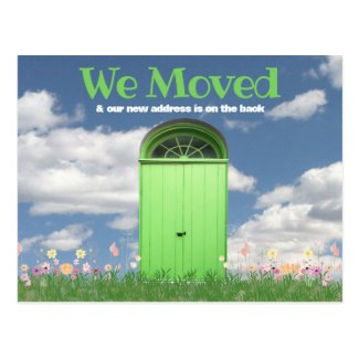 Green Door Clouds Flowers We Moved Announcement Postcard