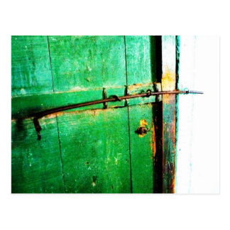 Green Door Old Lock Art Print Photo Post Card