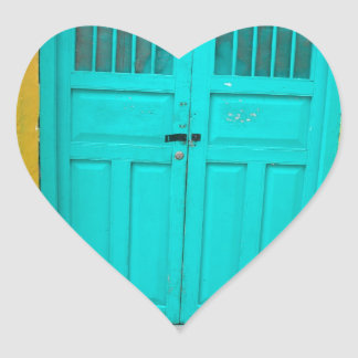 Green doors quaint wooden entrance heart sticker