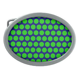 Green Dot Blue Oval Buckle Belt Buckle