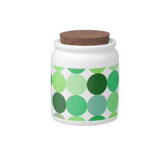 green dot candy jar