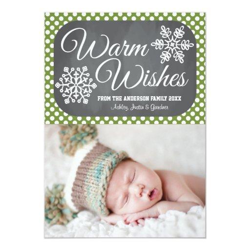 Green Dot Chalkboard Snowflake Holiday Photo Card