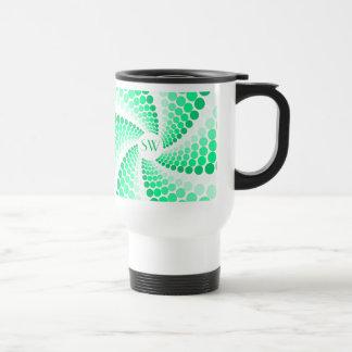 Green Dot Swirl Travel Mug