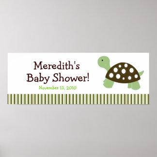 Green Dot Turtle Custom Baby Shower Banner Poster