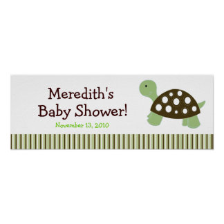 Green Dot Turtle Custom Baby Shower Banner Posters