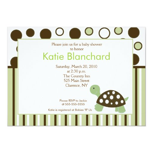 Green Dot Turtle Modern 5x7 Baby Shower Card