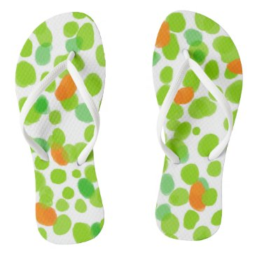Beach Themed Green dots 2017 nature Custom Adult, Slim Straps Flip Flops