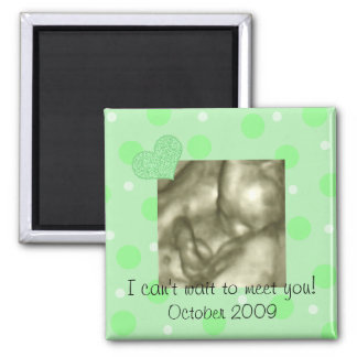 Green Dots and Heart Baby Shower Favor 2 Inch Square Magnet