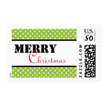 Green Dots Merry Christmas - Postage Stamp