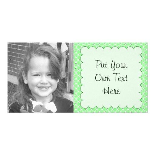 Green Dots Pattern Personalized Photo Card