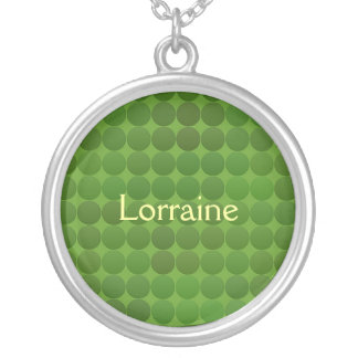 Green Dots Personalized Silver Plated Necklace