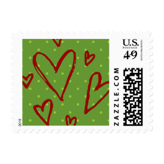 green dots red hearts stamps