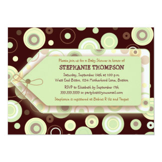 Green Dots Tag Neutral Baby Shower Invitation