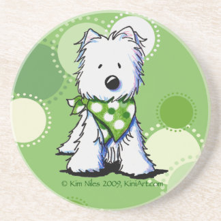 Green Dots Westie Dog Coaster