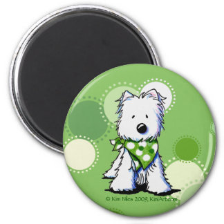 Green Dots Westie Dog 2 Inch Round Magnet