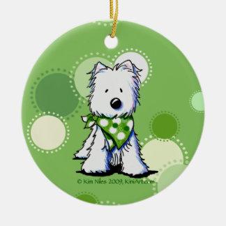 Green Dots Westie Ornament Round Ceramic Ornament