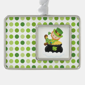 Green Dotted Silver Plated Framed Ornament