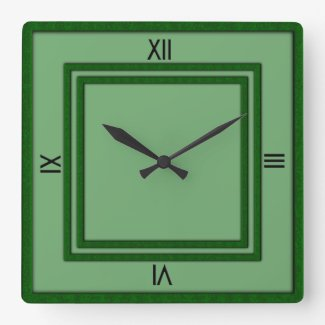 Green Double Frame 4 Black Numerals Clocks