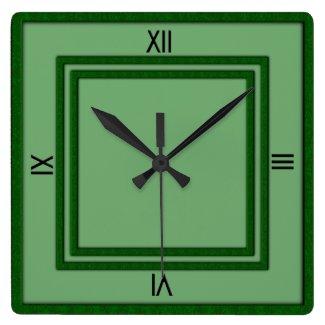 Green Double Frame 4 Black Numerals Clocks