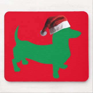 Green-Doxie---And-Santa-Hat Mouse Pad