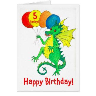 Green Dragon 5th Birthday Card