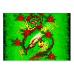 Green Dragon and Red Flowers Business Card Templates
