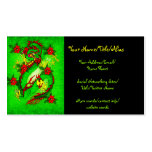 Green Dragon and Red Flowers Business Cards