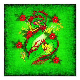 Green Dragon and Red Flowers Card