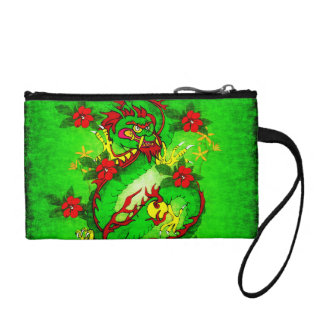 Green Dragon and Red Flowers Change Purse