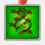 Green Dragon and Red Flowers Christmas Ornaments