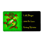 Green Dragon and Red Flowers Custom Shipping Label