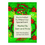 """Green Dragon and Red Flowers 3.5"""" X 5"""" Invitation Card"""