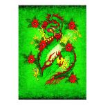 """Green Dragon and Red Flowers 5"""" X 7"""" Invitation Card"""