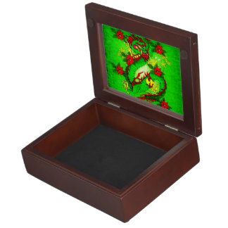 Green Dragon and Red Flowers Memory Boxes