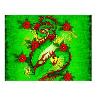 Green Dragon and Red Flowers Postcard