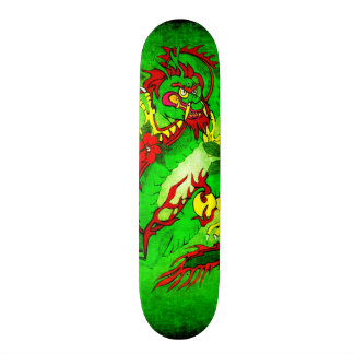 Green Dragon and Red Flowers Skateboard Deck