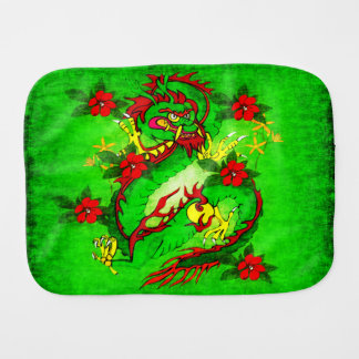 Green Dragon and Red Flowers Baby Burp Cloths