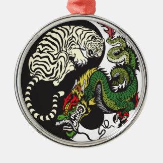 green dragon and white tiger yin yang symbol metal ornament