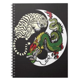 green dragon and white tiger yin yang symbol notebook
