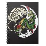 green dragon and white tiger yin yang symbol spiral note book